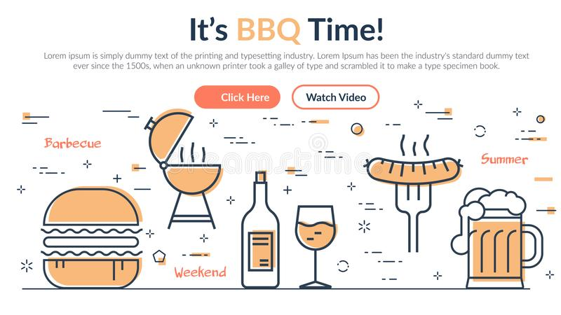 Web design coloré dans le thème de barbecue illustration de vecteur