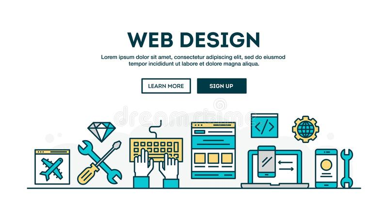Web design, colorful concept header, flat design thin line style royalty free illustration