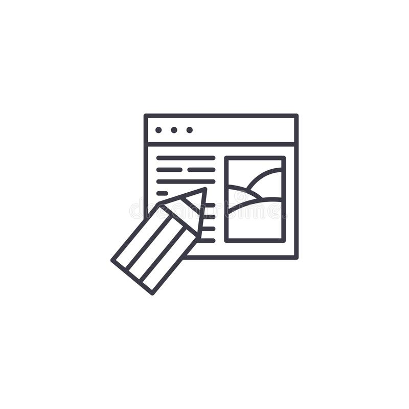 Web design company linear icon concept. Web design company line vector sign, symbol, illustration. stock illustration