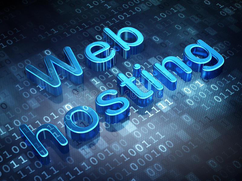 Web design concept: Blue Web Hosting on digital background. 3d render