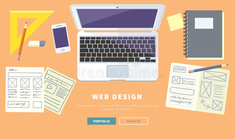 designer office workspace with tools and devices in modern flat style creative process logo web and graphic design design agency top view banner