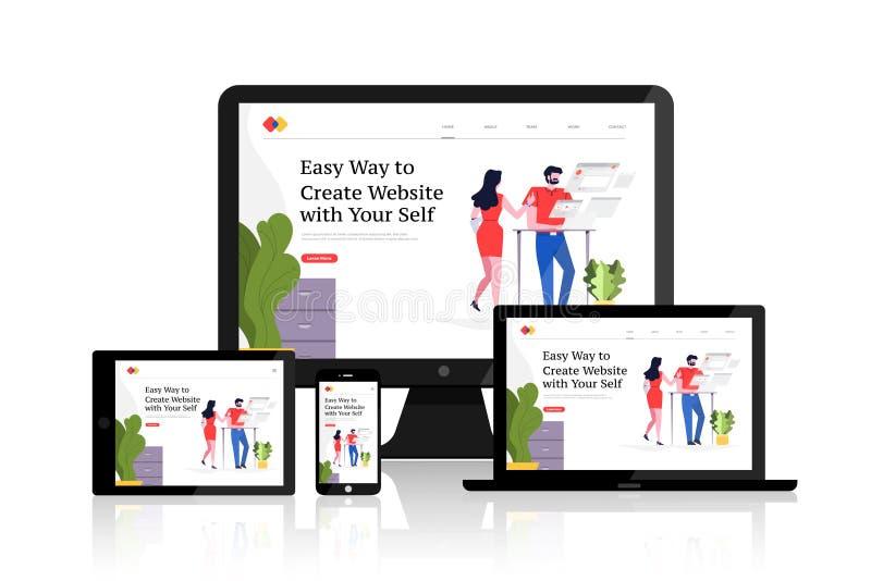 Web design concept. Flat design concept responsive web design development mockup layout devices on multiscreen. Vector illustrations vector illustration