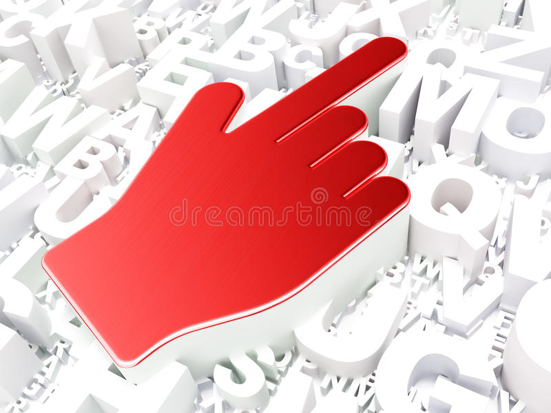 Web design concept: Mouse Cursor on alphabet background royalty free stock images