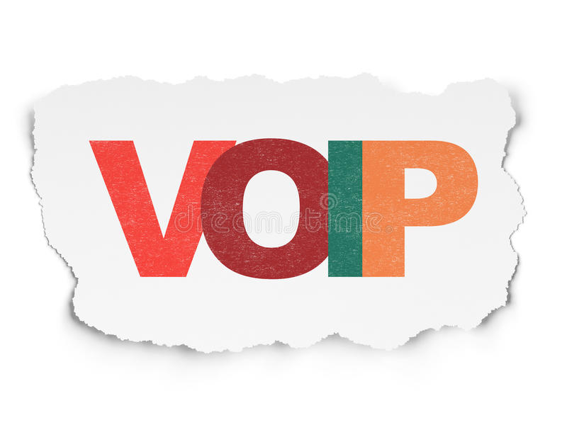 Web design concept: VOIP on Torn Paper background. Web design concept: Painted multicolor text VOIP on Torn Paper background, 3d render royalty free stock photo
