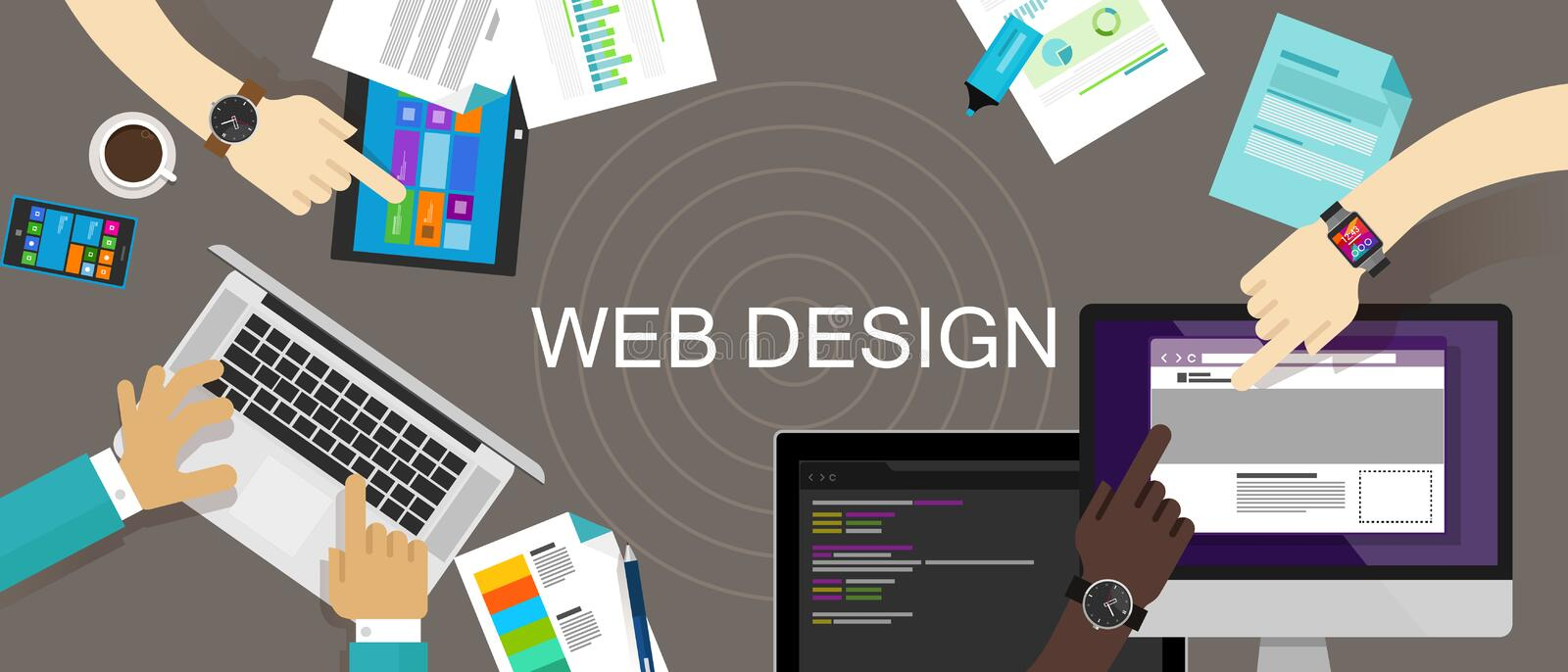 Web Design Content Creative Website Responsive. Technology vector desk