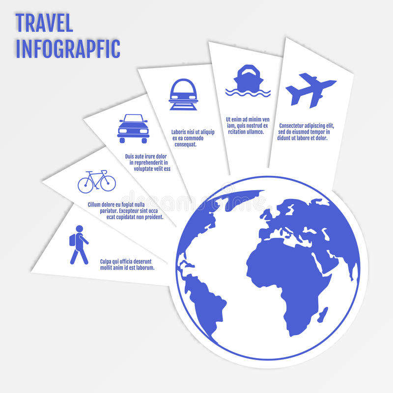 Web design d'infographics de voyage Calibre de papier moderne Options numérotées Illustration de vecteur illustration de vecteur