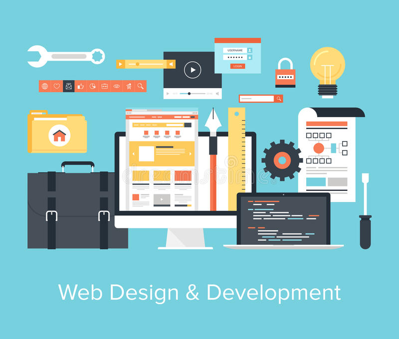 Web Design and Development royalty free illustration