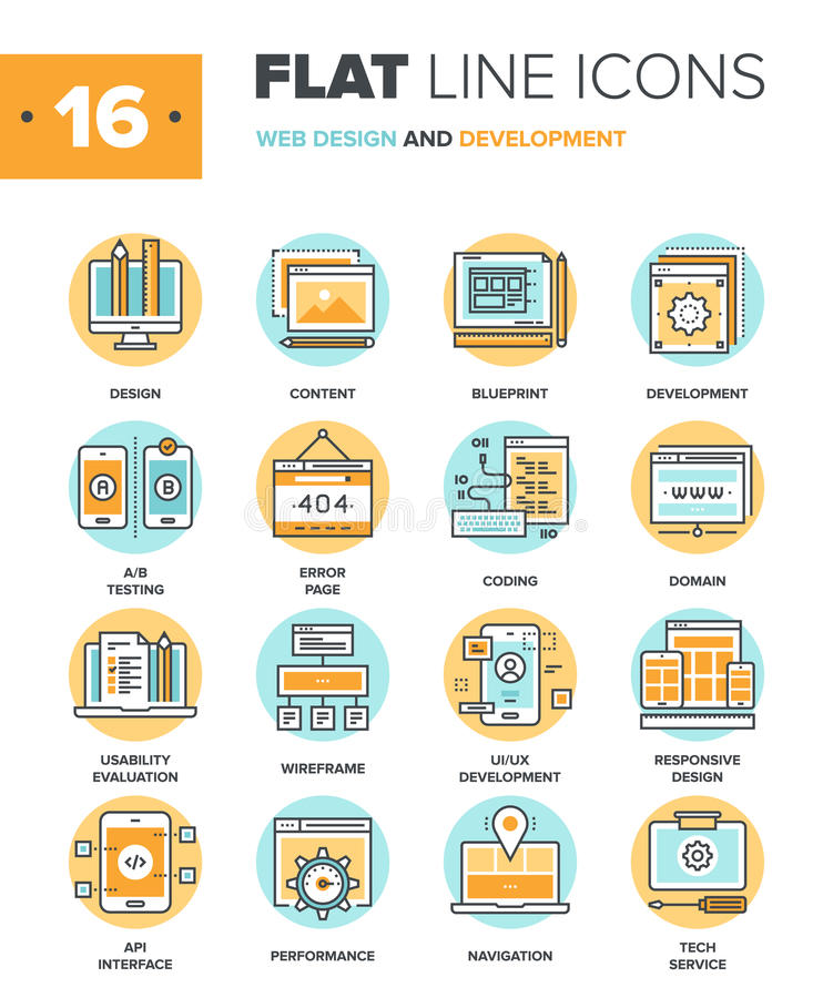 Web Design and Development. Abstract vector collection of flat line web design and development icons. Elements for mobile and web applications vector illustration