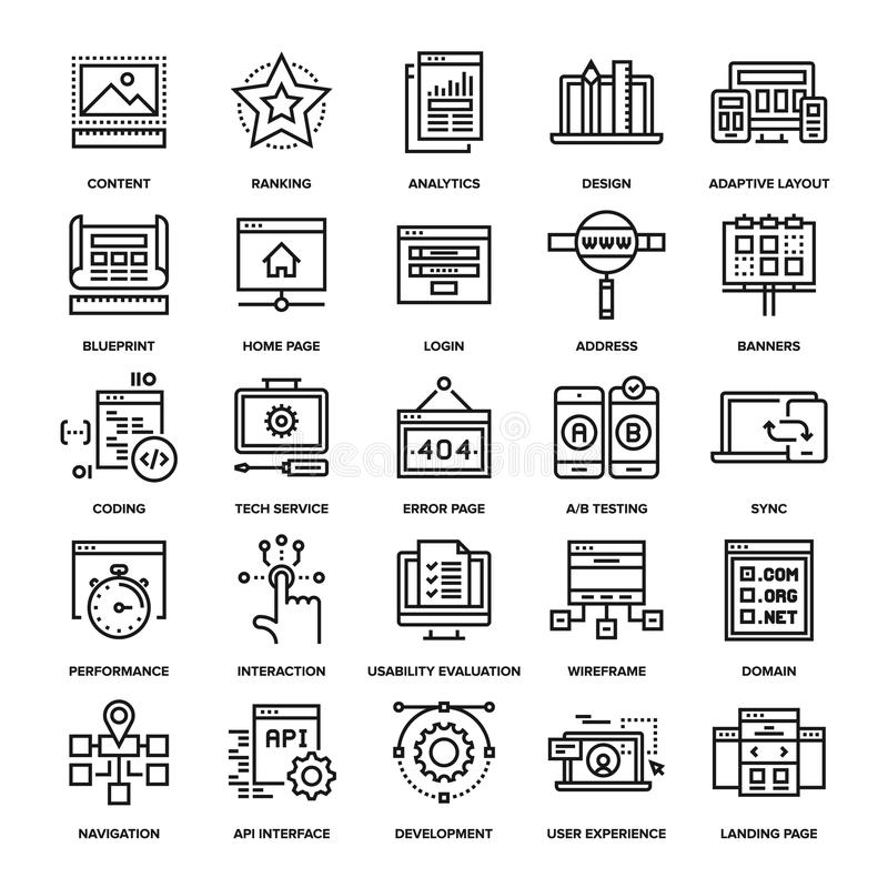 Web Design and Development. Abstract vector collection of line web development icons royalty free illustration