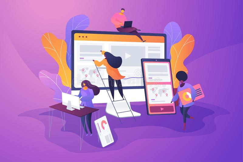 Web design development concept vector illustration royalty free illustration