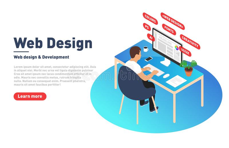 Web design and development concept. Web designer is working on computer. Designer, programmer and modern workplace in isometric pr stock illustration
