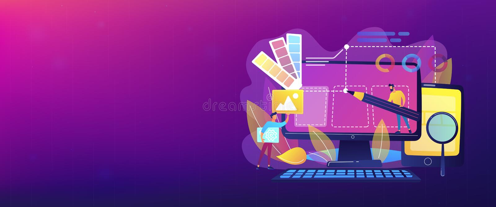 Web design development header or footer banner stock illustration