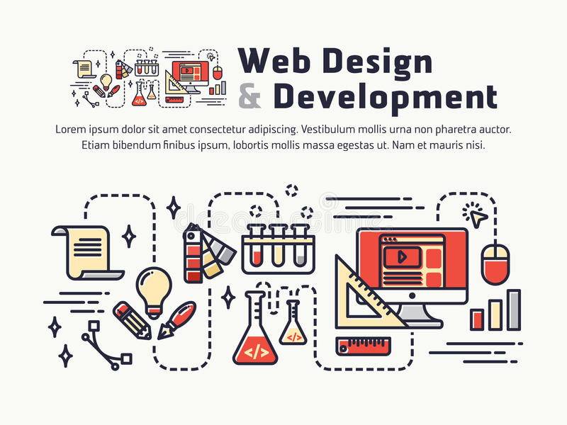 Web design and Development. Icons and symbols for web header, banner. Page cover, printing media. Vector illustration royalty free illustration