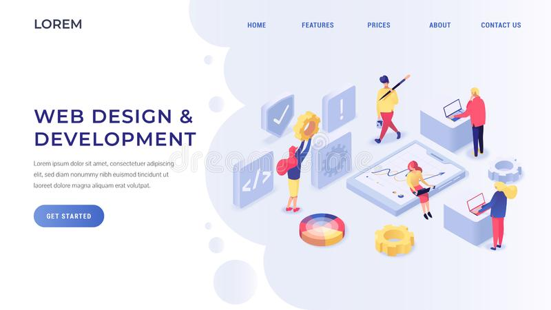 Web design and development isometric landing page. Landing page with developers interacting with data charts elaborating different sites. Technology internet and royalty free illustration
