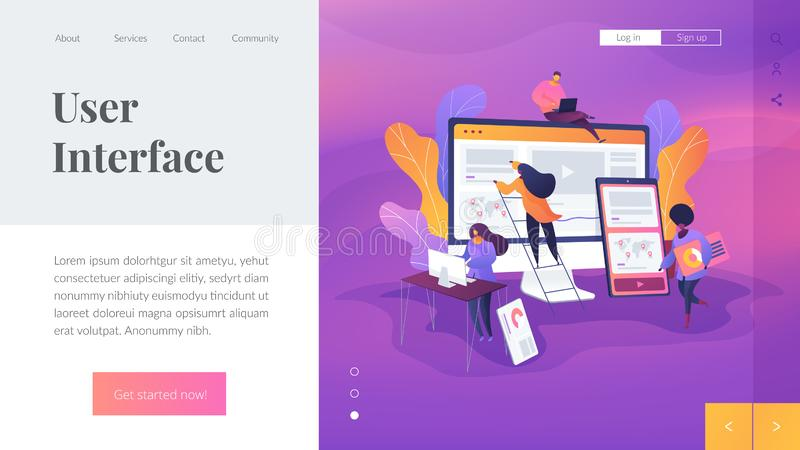 Web design development landing page template. stock illustration