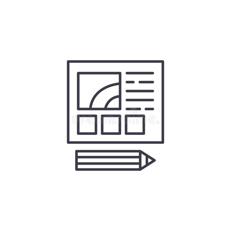 Web design development linear icon concept. Web design development line vector sign, symbol, illustration. vector illustration