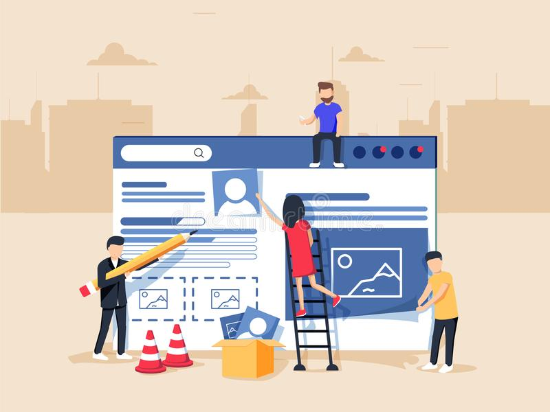 Web design and development. Site under construction. A team of young professionals working on a landing page. Flat illustration, clip art. Millennials at work royalty free illustration