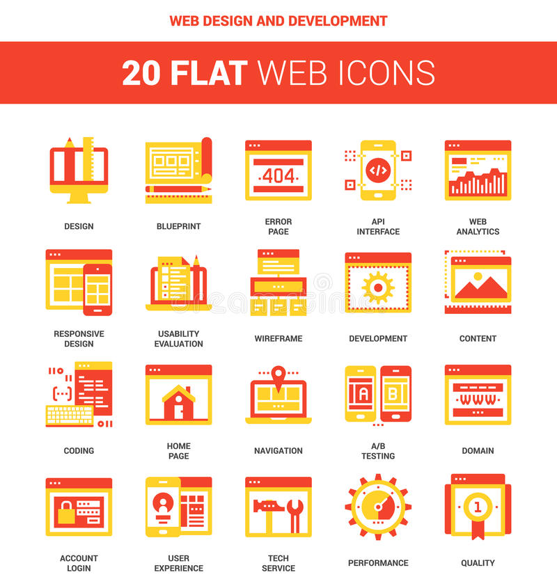 Web Design and Development. Vector set of web design and development flat web icons. Each icon neatly designed on pixel perfect 64X64 size grid. Fully editable royalty free illustration