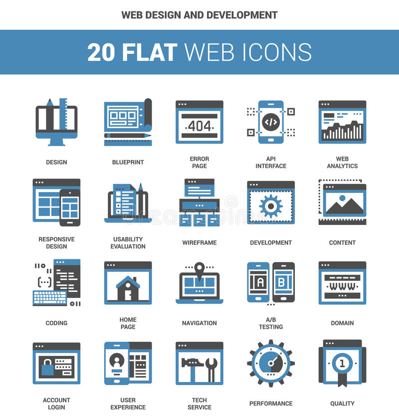 Web Design and Development. Vector set of web design and development flat web icons. Each icon neatly designed on pixel perfect 64X64 size grid. Fully editable stock illustration