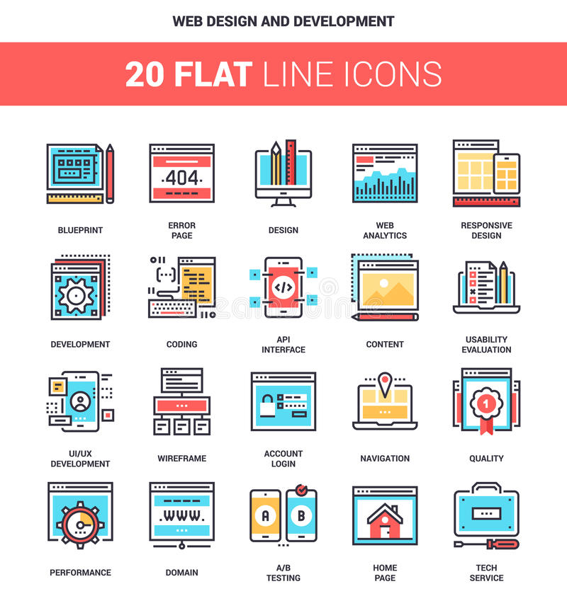 Web Design and Development. Vector set of web design and development flat line web icons. Each icon with adjustable strokes neatly designed on pixel perfect vector illustration