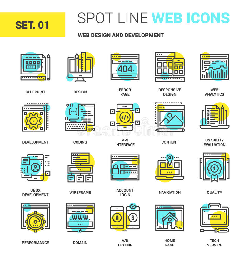 Web Design and Development. Vector set of web design and development spot line web icons. Each icon with adjustable strokes neatly designed on pixel perfect royalty free illustration