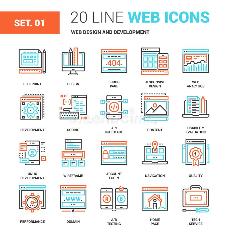 Web Design and Development. Vector set of web design and development line web icons. Each icon with adjustable strokes neatly designed on pixel perfect 64X64 stock illustration