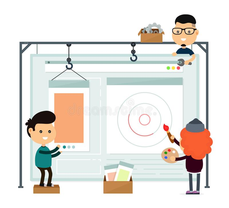 Web design and development. Web site. Building. Young happy professionals team creating interface and functions,working on a landing page. Vector flat cartoon royalty free illustration