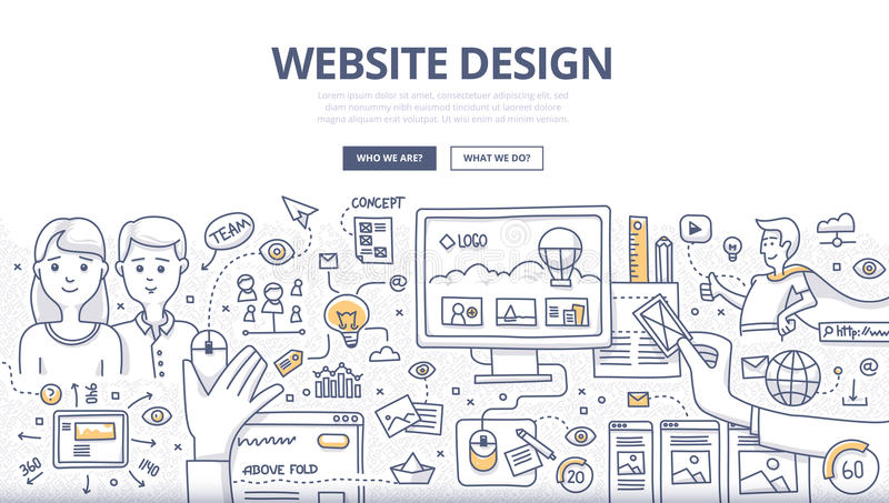 Web Design Doodle Concept royalty free illustration