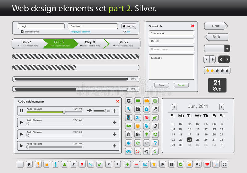 Download Web Design Elements Set. Part 2. Silver. Royalty Free Stock Images - Image: 18543209