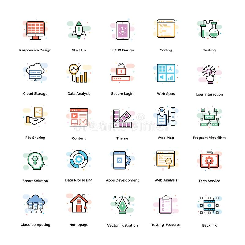 Web Design Flat Icons Pack. Consisting vast variety of visuals regarding different fields. Editable icons use as per your project needs and feel free to grab royalty free illustration