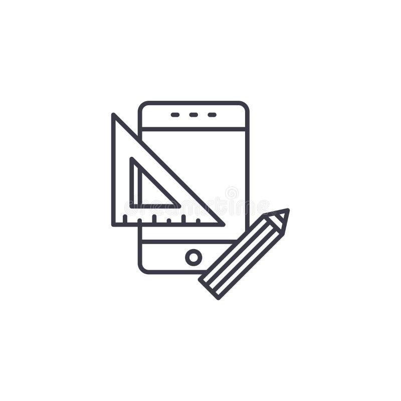 Web design linear icon concept. Web design line vector sign, symbol, illustration. royalty free illustration