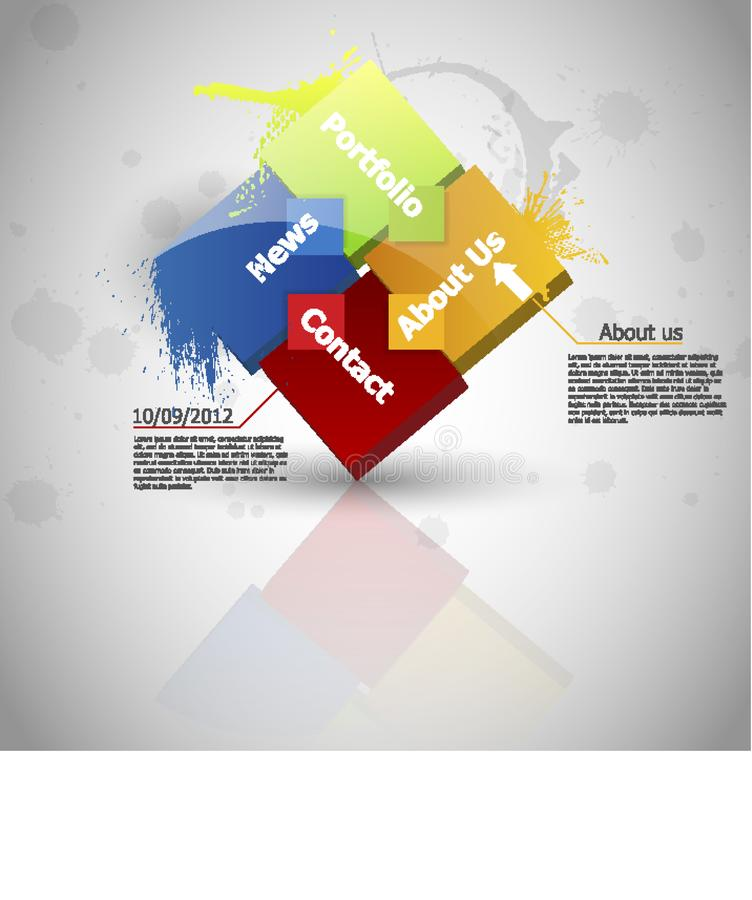 Web design. One two three four - vector paper progress steps for - Vector royalty free illustration