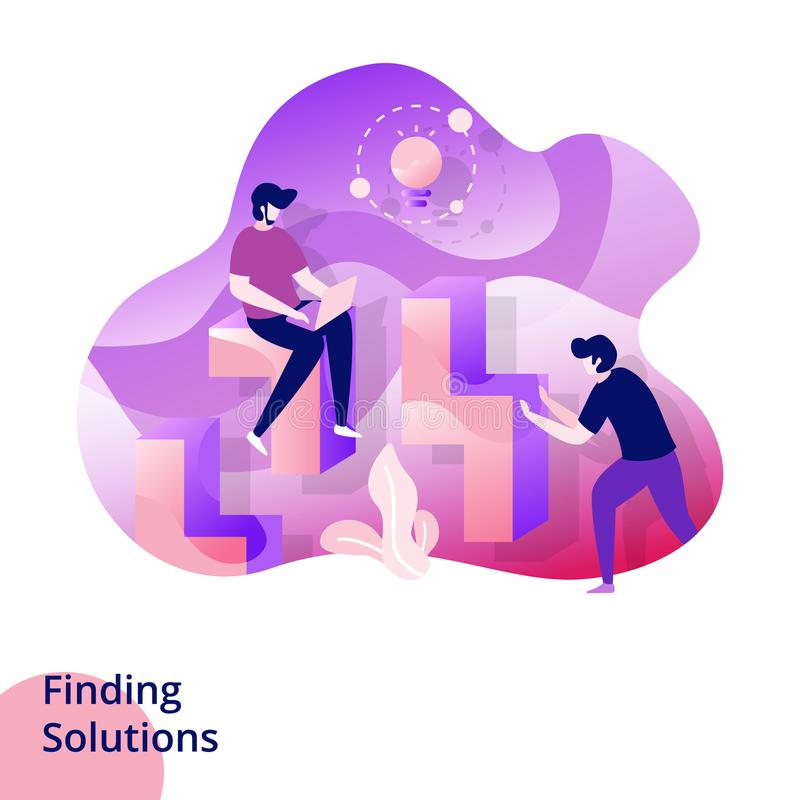 Illustration. Web design page templates for Finding Solutions. Concepts for website and mobile app development. Modern style vector illustration, abstract royalty free illustration