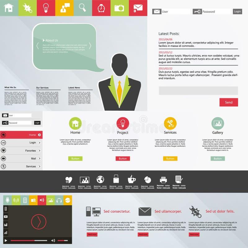 Web design piano, elementi, bottoni, icone. Modelli per il sito Web. illustrazione vettoriale