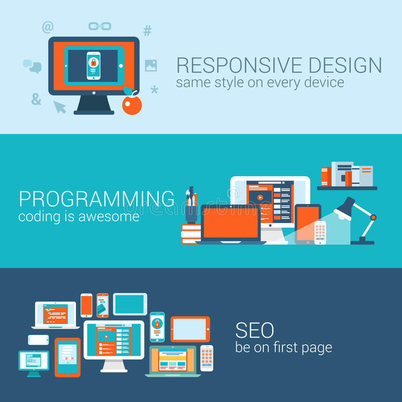 Web design programming SEO concept flat template set vector. Web design programming SEO concept flat web banners template set. Responsive style css coding php stock illustration