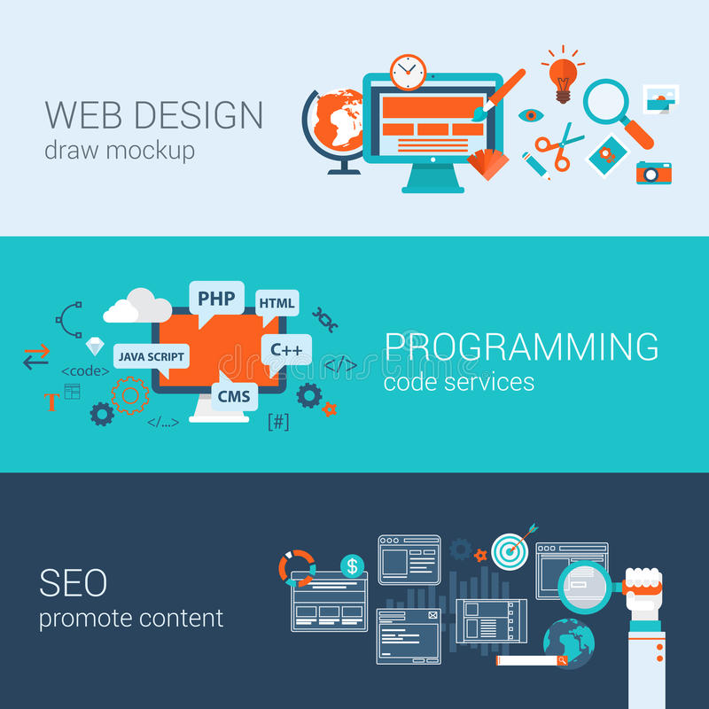 Web design programming SEO concept flat web banners set vector. Web design programming SEO concept flat web banners template set vector illustration website