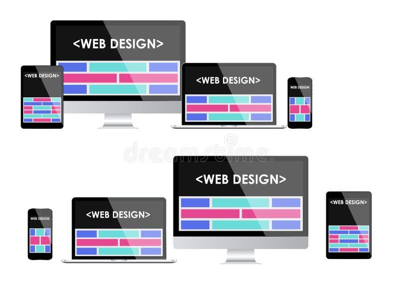 Web design rispondente Interfaccia utente adattabile illustrazione vettoriale