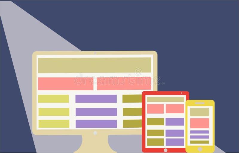 Web design rispondente su stile piano dello schermo moderno  illustrazione di stock