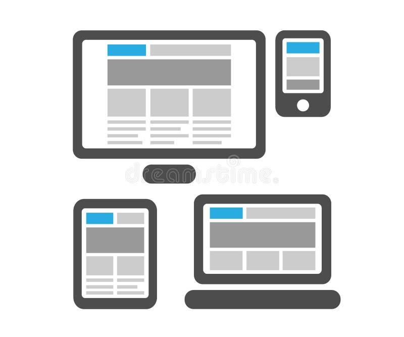 Web design rispondente sui dispositivi digitali isolati illustrazione vettoriale