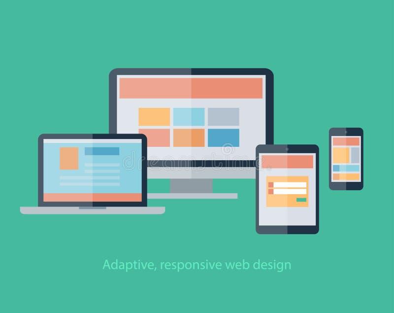 Web design rispondente sui dispositivi taccuino, monitor, compressa, smartphone illustrazione vettoriale