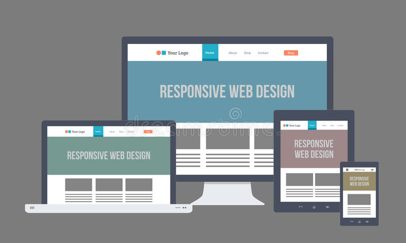 Web design sensible plat illustration de vecteur