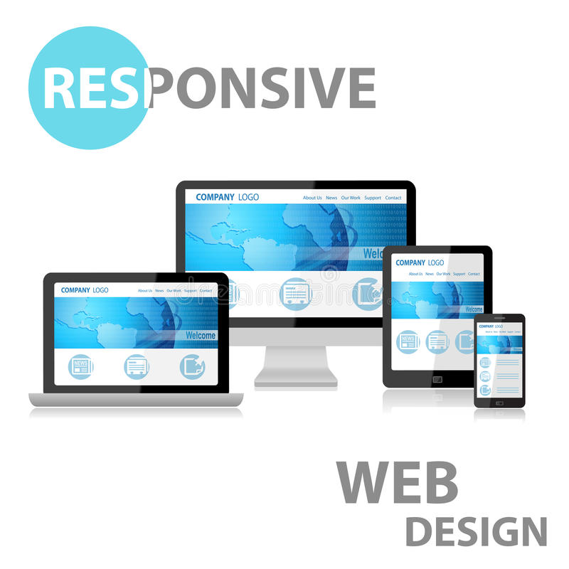 Web design sensible sur le divers dispositif illustration libre de droits