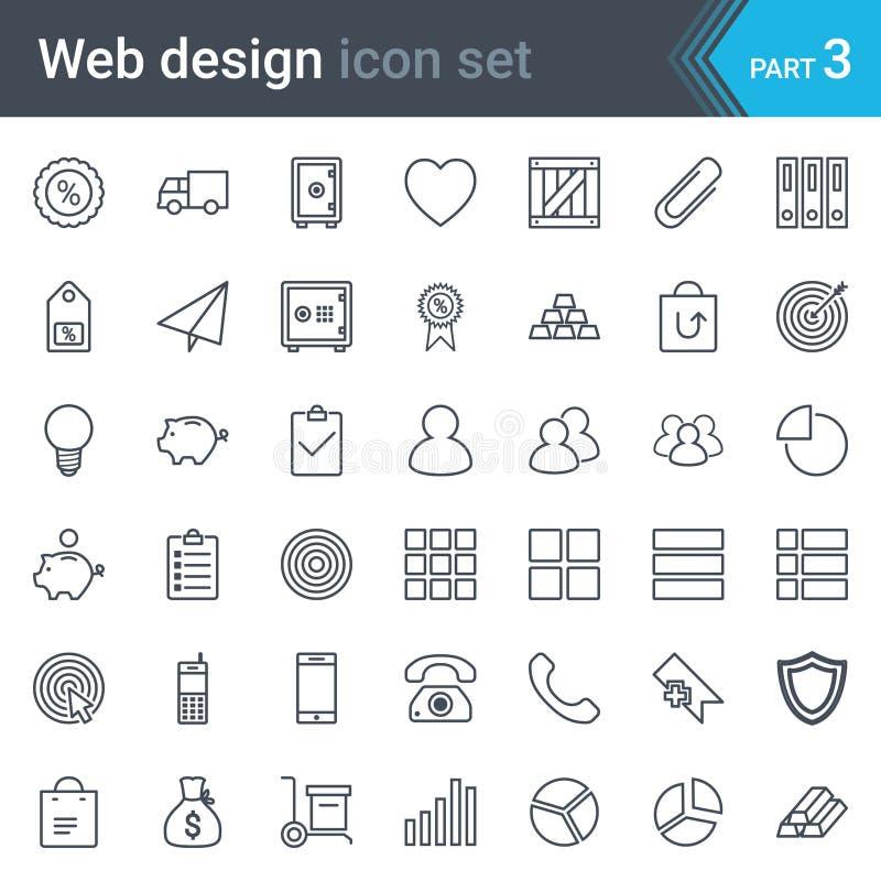 Web design, SEO e linea sottile insieme di sviluppo dell'icona di vettore isolato su fondo bianco illustrazione di stock