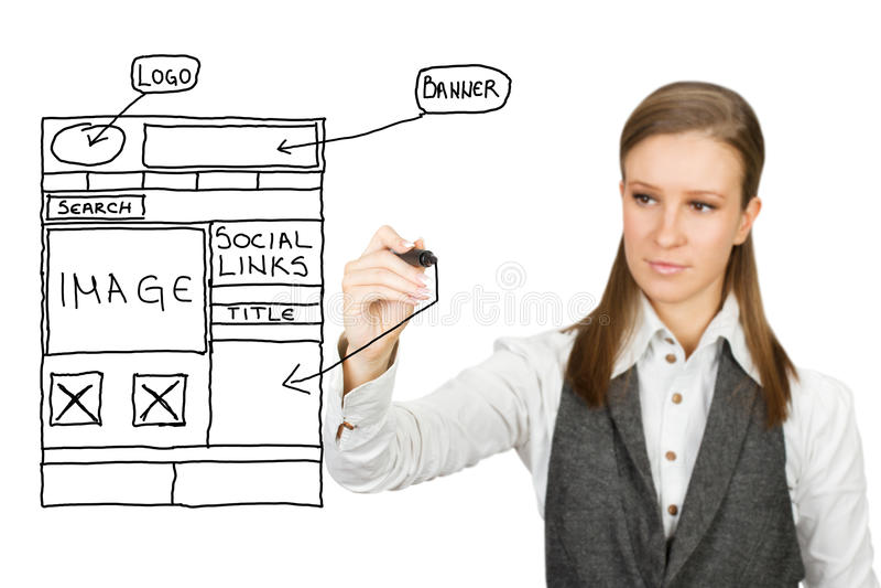 Web design sketch. Businesswoman drawing web design sketch