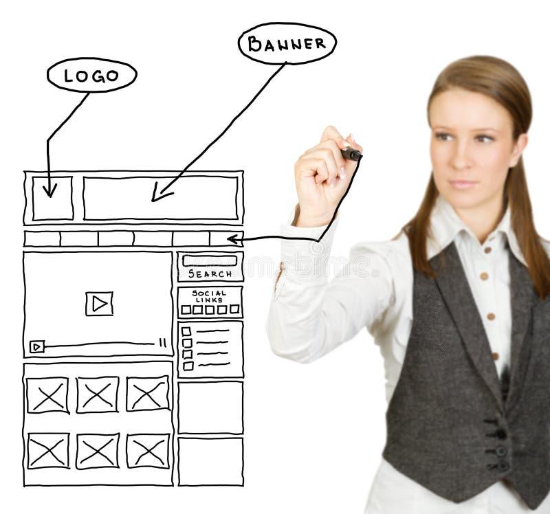 Web design sketch. Businesswoman drawing web design sketch (selective focus