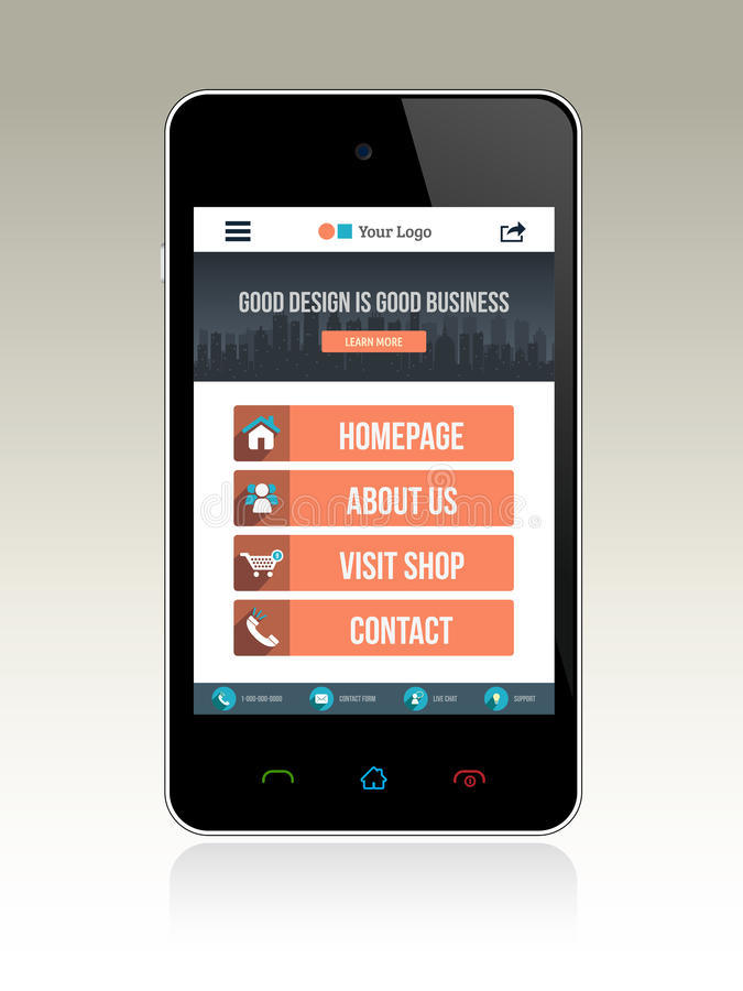 Web Design for Smart phone. Flat style web layout for smart phone stock illustration