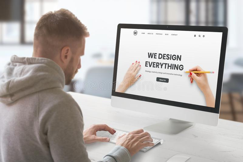 Web Design Studio with Concept Agency Web Page on Computer Display Stock Image - Image of develop, experience: 167386583