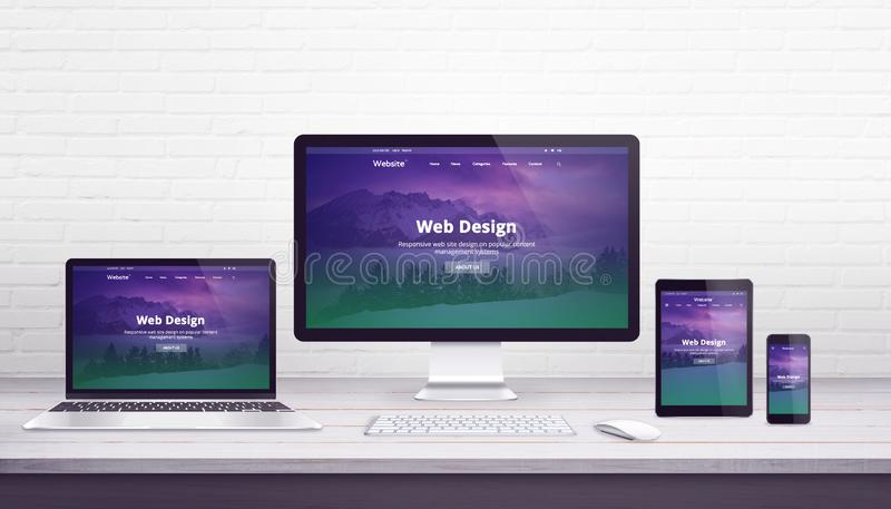 Web design studio concept with flat design responsive web site on display devices royalty free illustration
