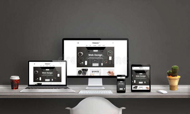 Web design studio with responsive web site promotion. Computer display, laptop, tablet and smart phone mockup on office desk. Plant and coffee beside stock illustration
