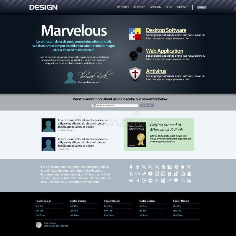 Download Web Design Template 8 (Dark Theme) Vector Stock Vector - Image: 15285728